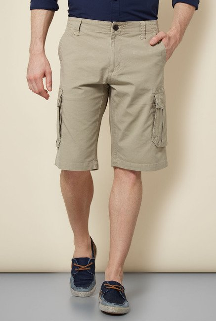 Cottonworld Beige Solid Shorts
