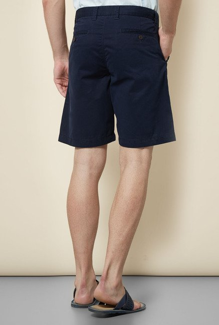 Cottonworld Navy Solid Shorts