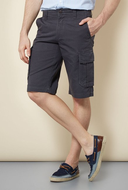 Cottonworld Slate Solid Cotton Shorts