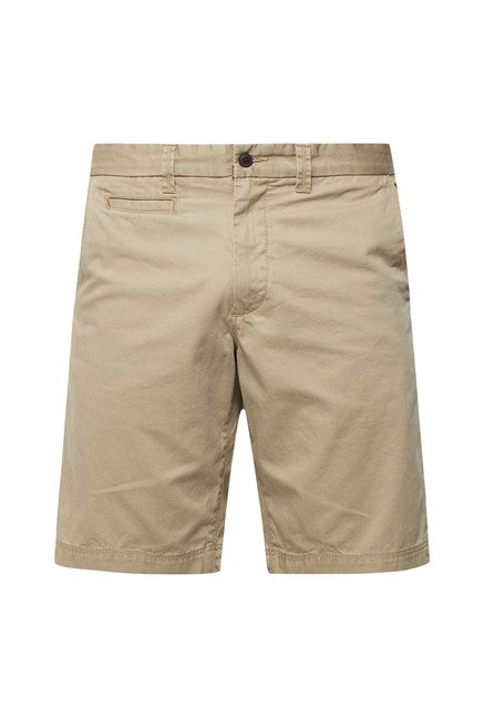 Cottonworld Beige Solid Cotton Shorts
