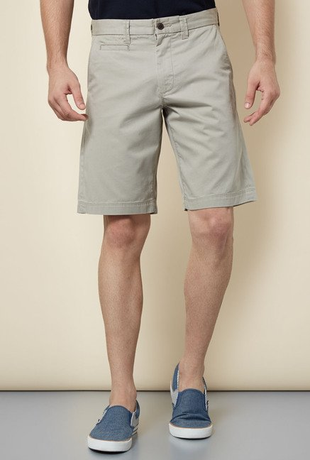 Cottonworld Grey Solid Shorts