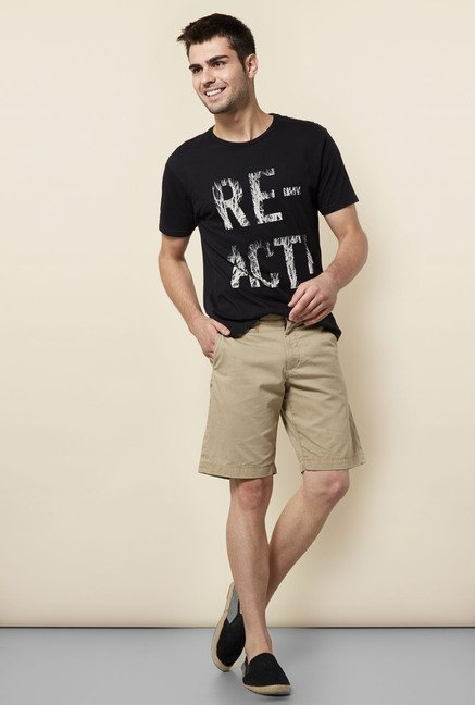 Cottonworld Black Printed Crew T Shirt