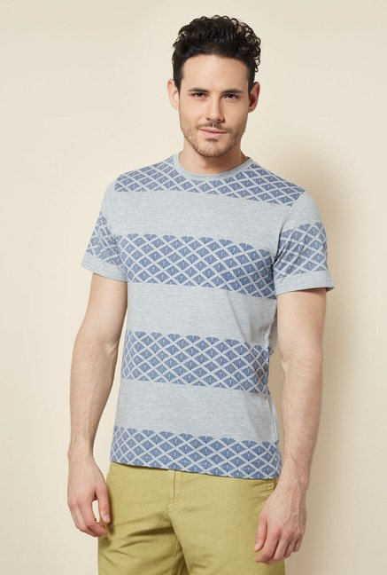 Cottonworld Grey Melange Striped Crew T Shirt
