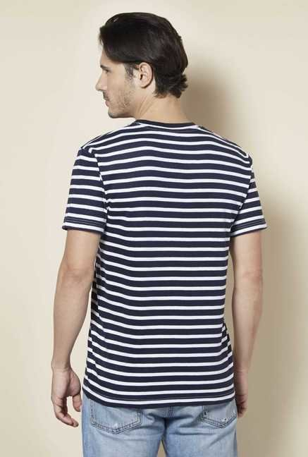 Tuna London Navy & White Striped T shirt