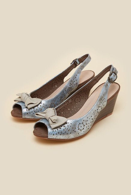 Inc.5 Silver Leather Wedge Sandals