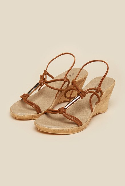 Inc.5 Tan Wedge Heel Sandals