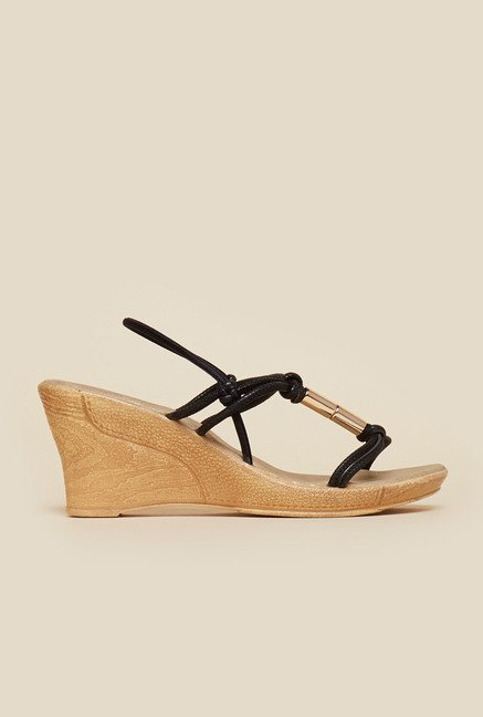 Inc.5 Black Wedge Heel Sandals