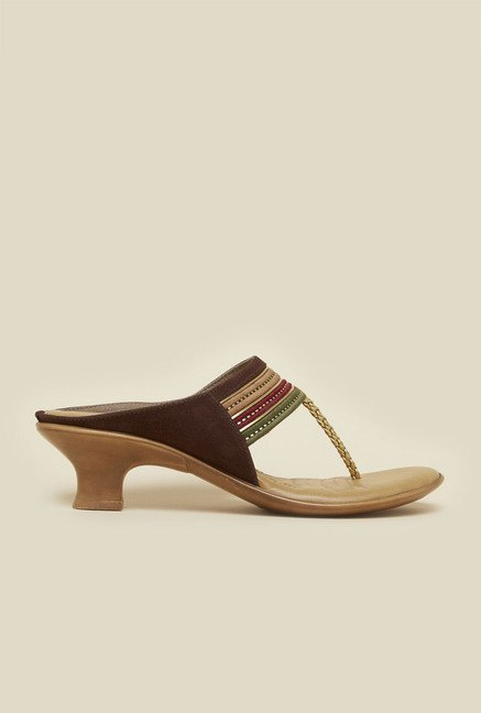 Inc.5 Brown Block Heel Sandals