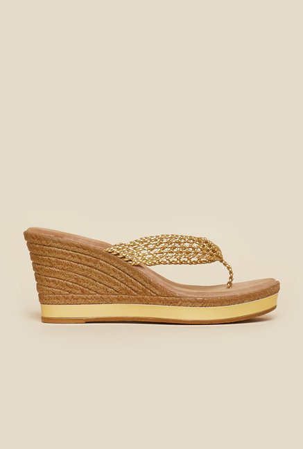 Inc.5 Gold Thong Wedges