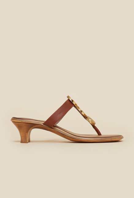 Inc.5 Brown T-Strap Kitten Sandals