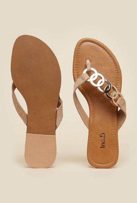 Inc.5 Beige Flat Thongs