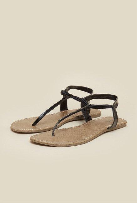 9d377ba9422bb5 Buy Inc.5 Black T-Strap Flat Sandals Online at best price at TataCLiQ