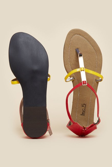 Inc.5 Red & Yellow Flat Sandals