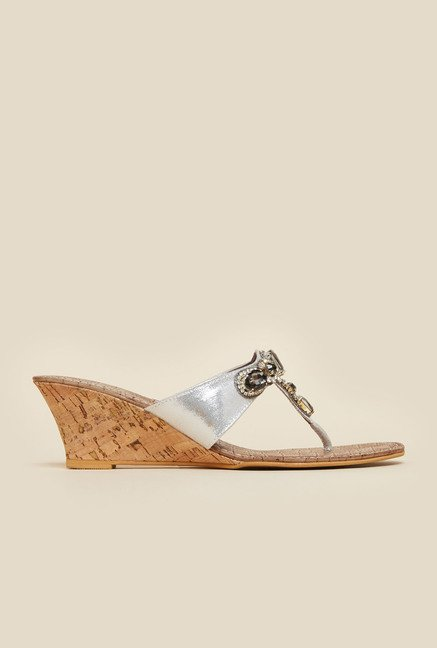Inc.5 Silver Diamond Embellished Wedge Heel Sandals