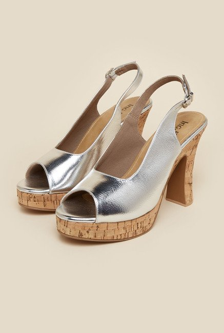 Inc.5 Silver Block Heel Sandals