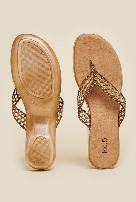 Inc.5 Antique Gold Flat Thongs