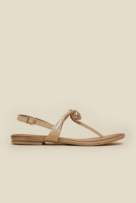 Inc.5 Beige Ankle Strap Beaded Sandals
