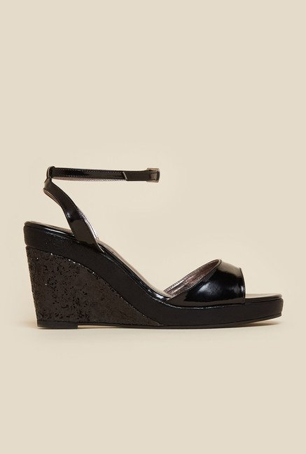 Inc.5 Black Shimmering Wedge Heel Sandals