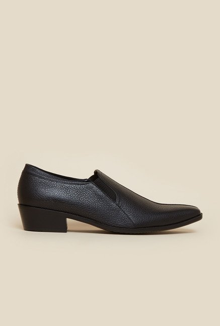 Privo by Inc.5 Black Leather Formal Slip-On Shoes