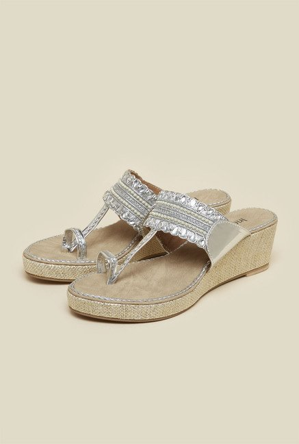 Inc.5 Silver Beaded Kolhapuri Sandals