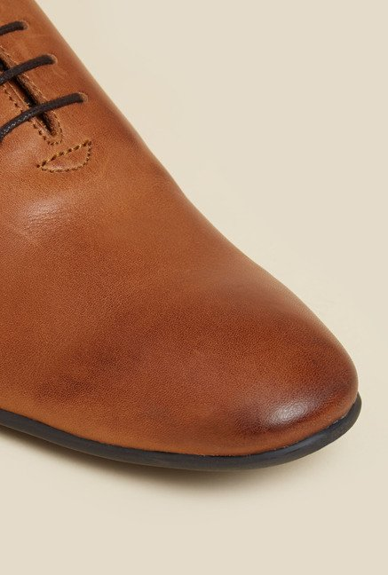 Privo by Inc.5 Tan Leather Derby Lace-up Shoes