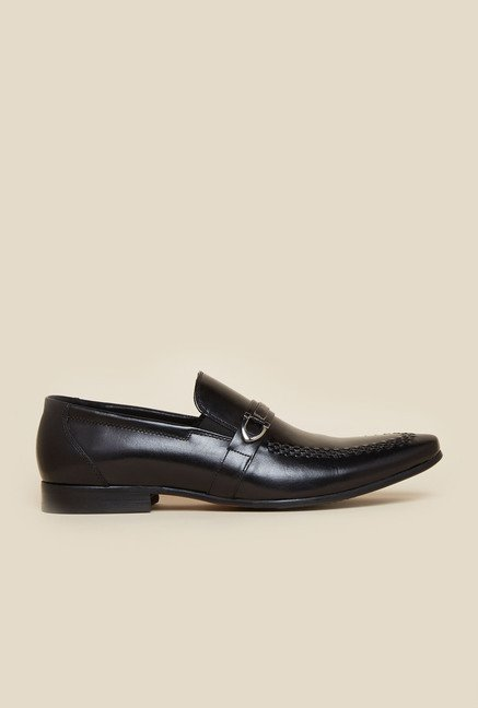 Atesber by Inc.5 Black Leather Slip-On Shoes