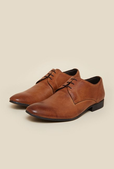 Privo by Inc.5 Tan Leather Formal Derby Shoes