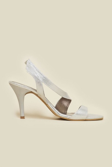 Inc.5 Silver Leather Cone Heel Sandals