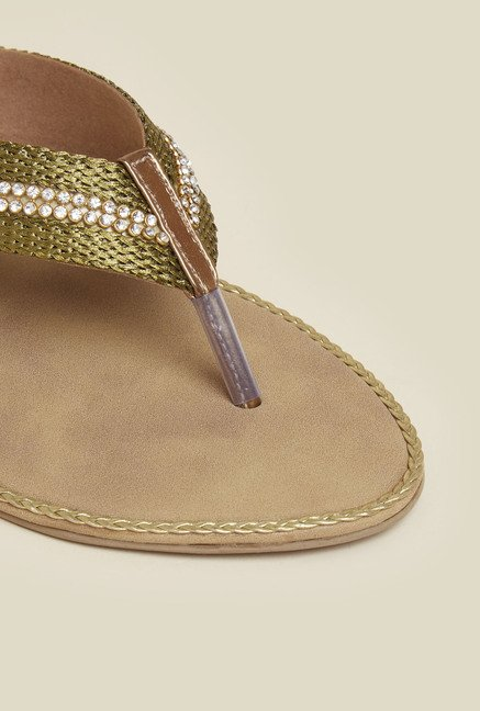 Inc.5 Antique Gold Flat Sandals
