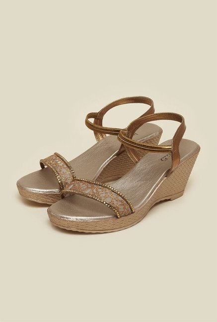 Inc.5 Antique Gold Wedge Heel Sandals