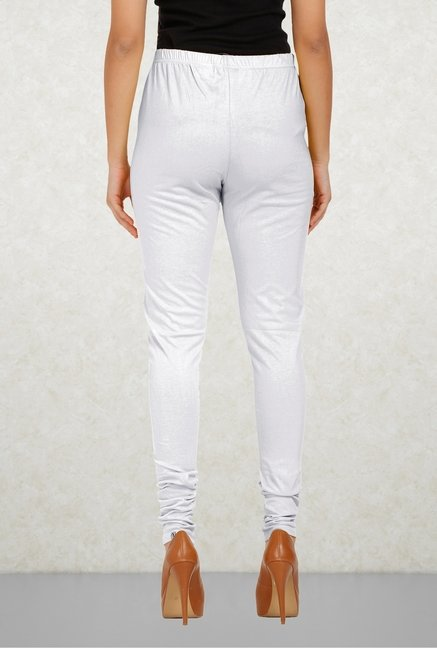 Aurelia White Solid Leggings