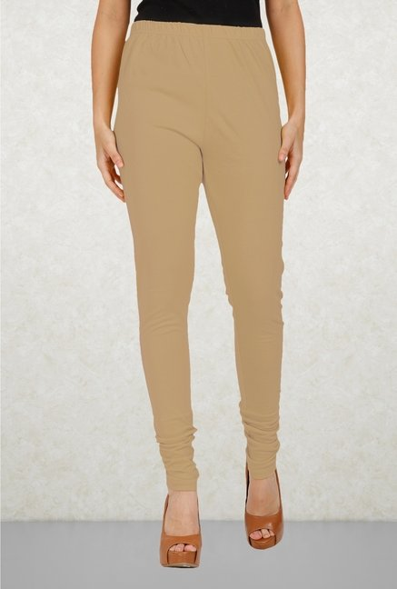 Aurelia Beige Solid Leggings