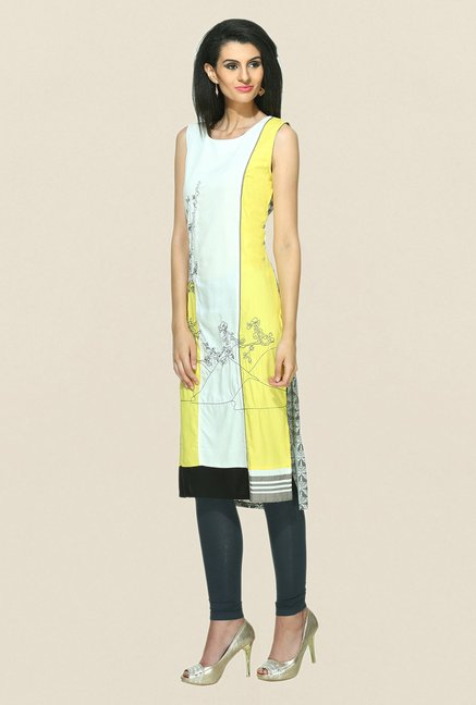 W Off White & Yellow Printed Round Neck Kurta