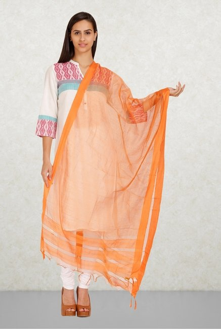 Aurelia Orange Solid Dupatta