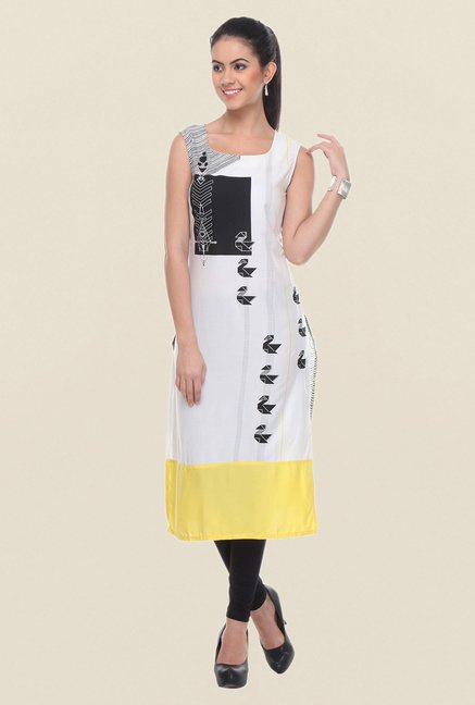 W White & Black Printed Sleeveless Kurta