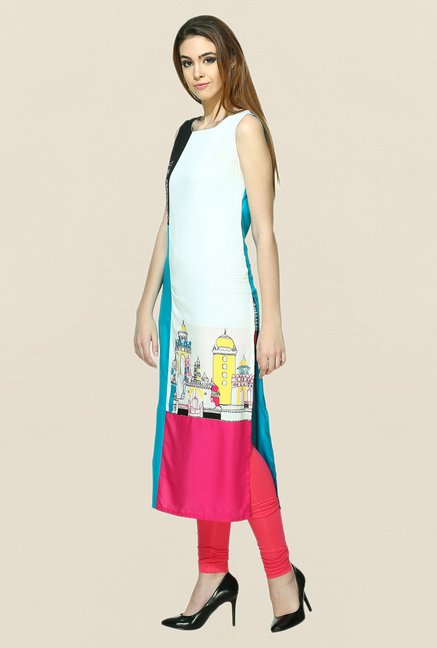 W Multicolor Printed Sleeveless Kurta
