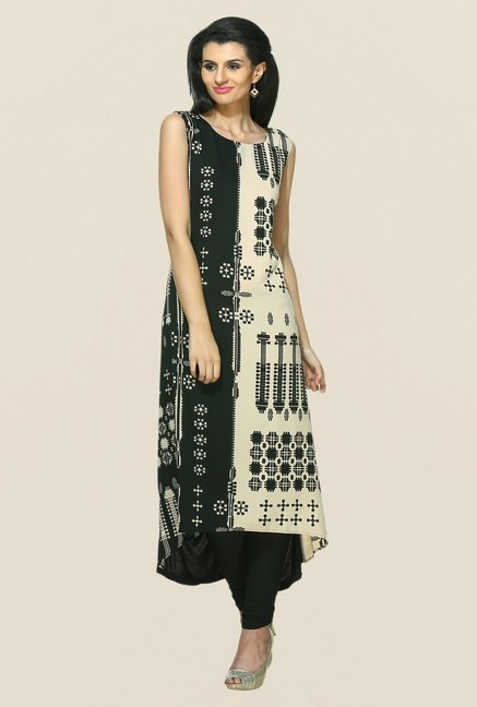 W Black & Beige Printed Synthetic Kurta