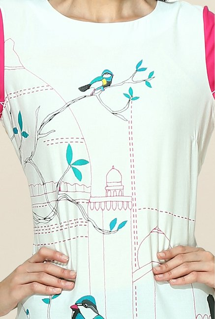 W Off White & Pink Printed Round Neck Kurta