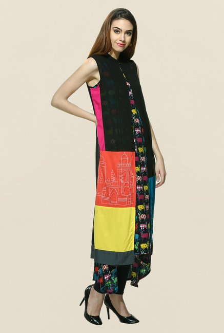 W Black Sleeveless Kurta