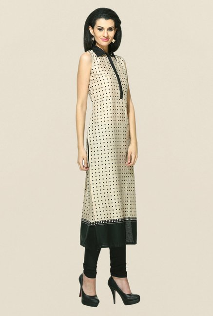 W Beige Printed Cotton Kurta