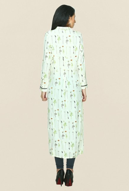 W White Printed Shirt Collar Kurta