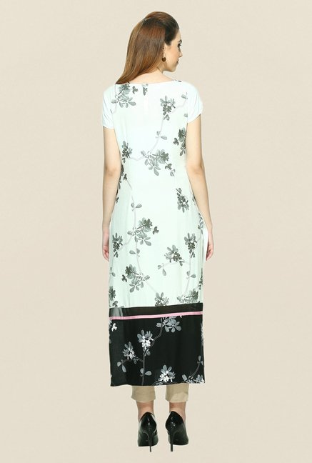 W Off White Printed Short Sleeve Kurta
