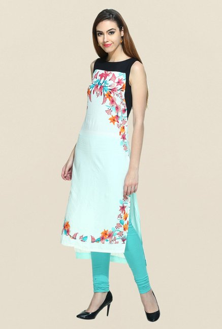 W Off White Floral Printed Kurta