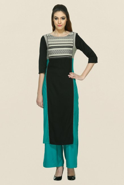 W Black Printed Boat Neck Kurta