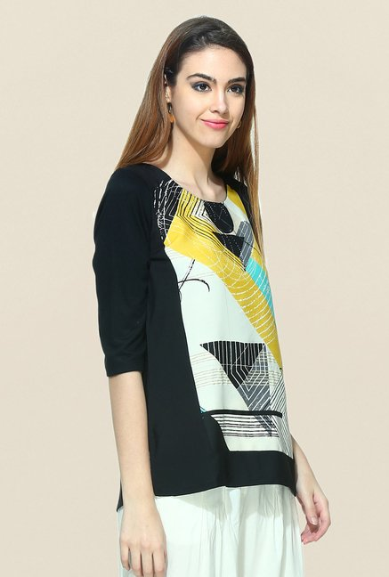 W Black Printed Tunic