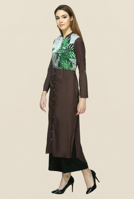 W Brown Printed Kurta