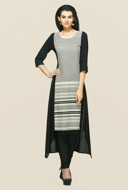 W Black Striped Kurta