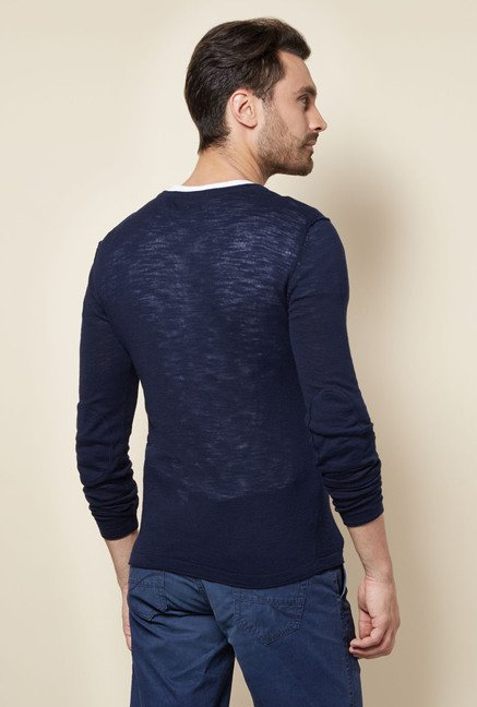 celio* Navy Solid Sweater