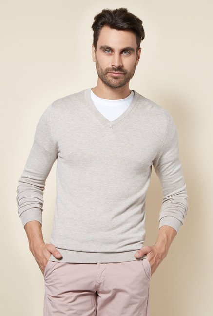celio* Grey Solid Sweater