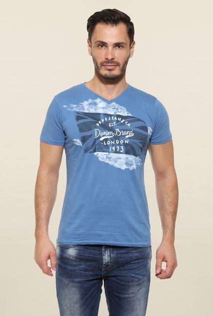 Pepe Jeans Blue Printed T Shirt